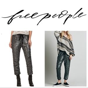 Free People Drippy Knit Sequined Jogger Pants